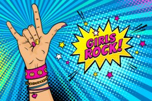 girls rock cartoon pow image