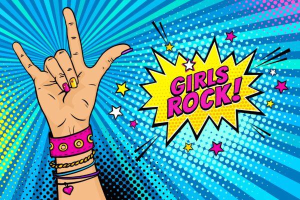 girls rock cartoon pow image